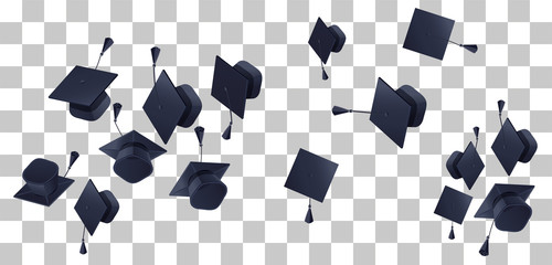 High school graduation hats mortarboard fly up on transparent background