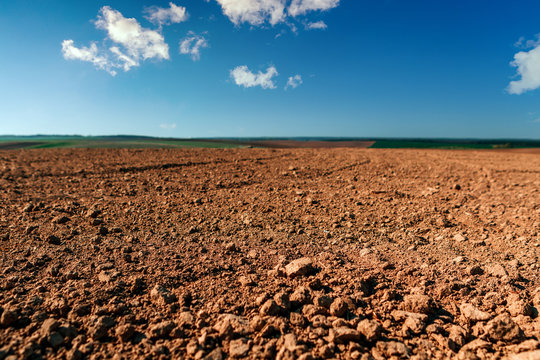 Ploughed field in spring prepared for sowing