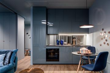 Dark interior with open kitchen