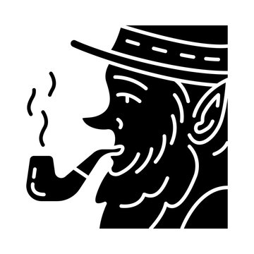 Leprechaun with pipe glyph icon