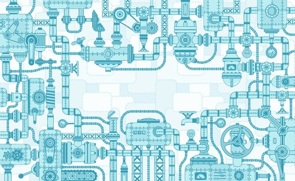 Industrial intricate framing of the mechanisms of parts and machines. Vector illustration.