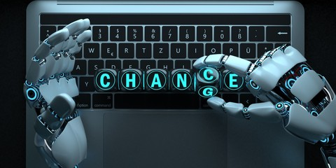Notebook Robot Hands Chance Change