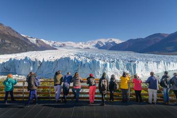 Tourists viewing Perito Moreno Glacier blue glacier El Calafate - Argentina - South America