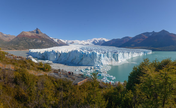 The Perito Moreno Glacier panoramic view. It is is a glacier located in the Los Glaciares National Park in Patagonia, Argentina.