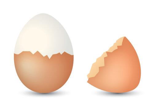 Uovo sodo con guscio aperto