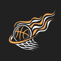 Vector logo for Basketball, decorative badge with burning basketball ball flying on trajectory in basket with net on black background, sports chalk sketch on blackboard.