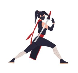 Female Japanese warrior, ninja or samurai. Brave woman standing in fighting stance and holding katana sword isolated on white background. Beautiful Asian hero. Flat cartoon vector illustration.
