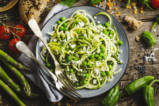 Healthy zucchini noodles on plate