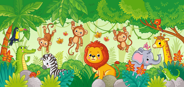 African animals in the jungle. Cute cartoon animals.
