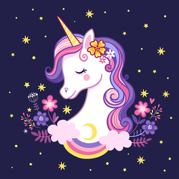 Cute unicorn on a purple background with stars and flowers.