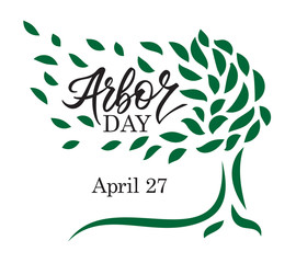 Arbor day words in a tree. Hand-writing