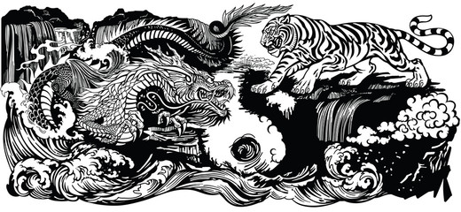 Chinese East Asian dragon versus tiger in the landscape. Graphic style vector illustration  included Yin Yang symbol  Wall mural