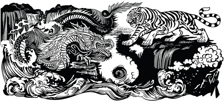 Chinese East Asian dragon versus tiger in the landscape. Graphic style vector illustration  included Yin Yang symbol