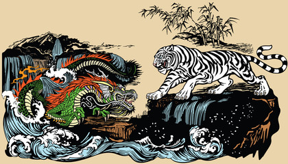 Green Chinese East Asian dragon versus White tiger in the landscape with waterfall,rocks and water waves . Two spiritual creatures in Classical Feng Shui representing Yin Yang. Graphic style vector i