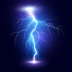 Lightning flash bolt or thunderbolt. Blue lightning or magic power blast storm. Vector illustration