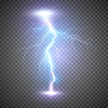 Lightning flash bolt or thunderbolt. Blue lightning or magic power blast storm. Vector illustration on transparent background