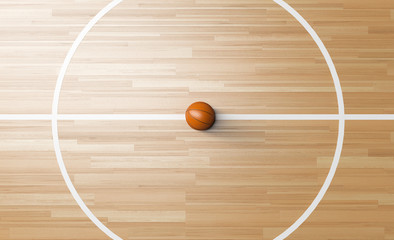 Basketball at the center of Wooden Court 3D rendering