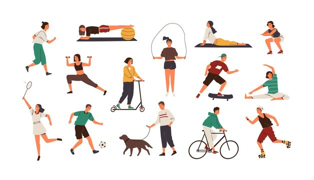 Set of funny people performing sports activities, fitness workout or playing games. Bundle of training or exercising men and women isolated on white background. Flat cartoon vector illustration.