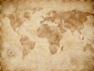 Wall Mural - Vintage world map illustration