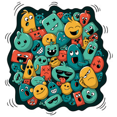 Cartoon background with funny characters. Vector illustration with separate layers.