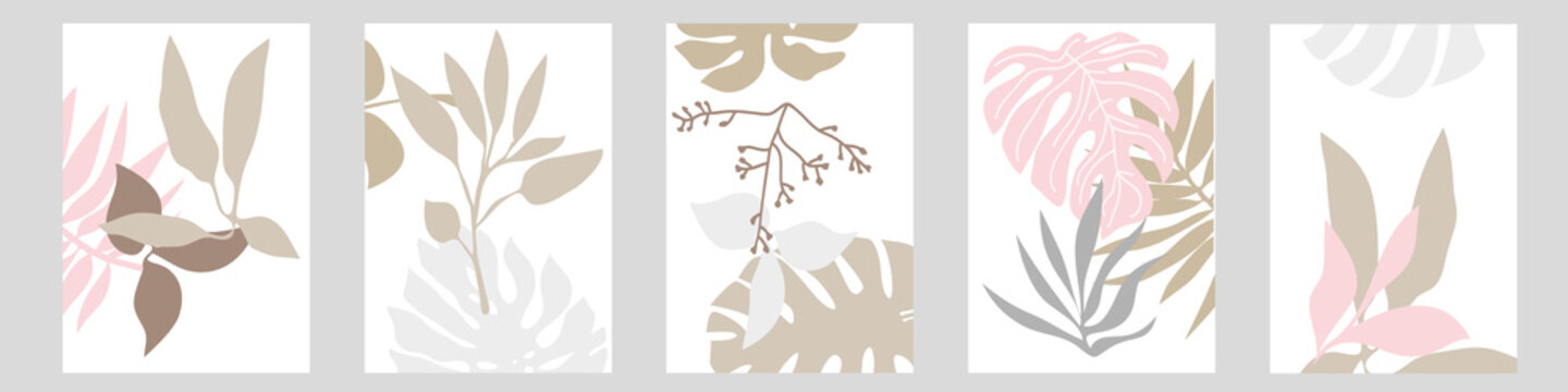 Set of A4 cards with botanical motifs.