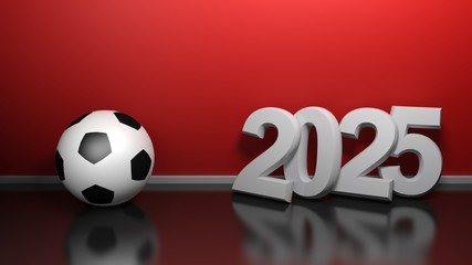 8024e4ee4 2025 at red wall with soccer ball - 3D rendering illustration