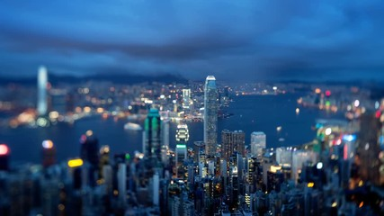 Fotomurales - Hong Kong from Victoria peak, tilt shift time lapse