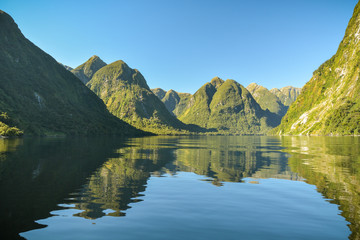 Doubtful Sound fiord far away from civilization on New Zealand