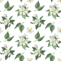 Seamless pattern with white watercolor flowers, green leaves