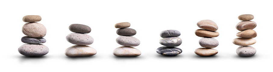 A collection of pile of stones isolated on a white background Fototapete