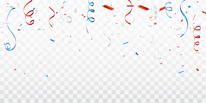 Celebration background template with confetti and red and blue ribbons. 4th of July American Happy Independence Day design concept with scatter papers,