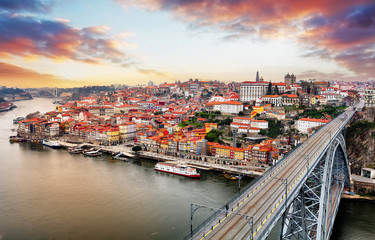 Porto at twilight with reflection in Douro river. Portugal