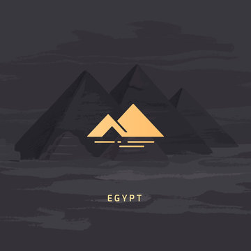 Vector icon of the most famous symbol of Egypt - the pyramid. Egyptian pyramids icon isolated on the vector image of the same pyramids.