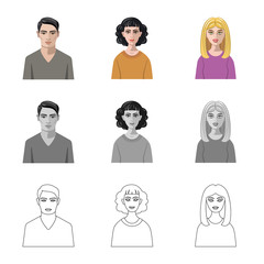 Vector illustration of hairstyle and profession  icon. Collection of hairstyle and character  vector icon for stock.