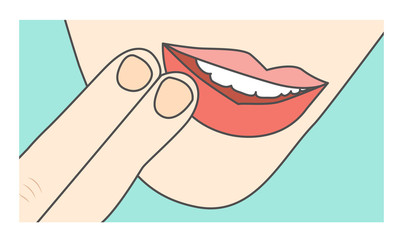 Touching lips / mouth showing sore area or injury