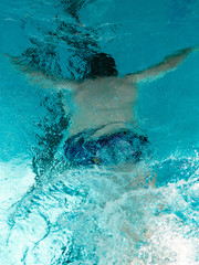 Swimmer underwater in the Olympic pool