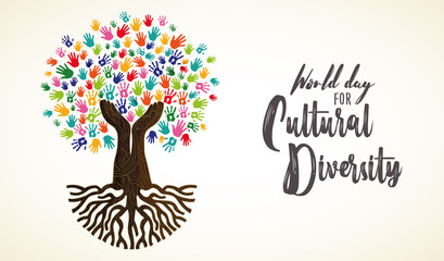 Wall Mural - Cultural Diversity Day card of human hand tree