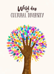 Wall Mural - Hand tree concept for cultural diversity day