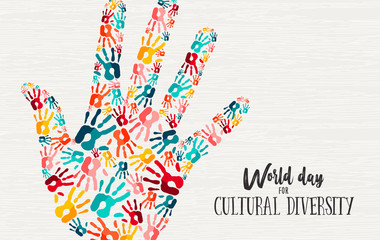 Wall Mural - Cultural Diversity Day diverse hand concept card