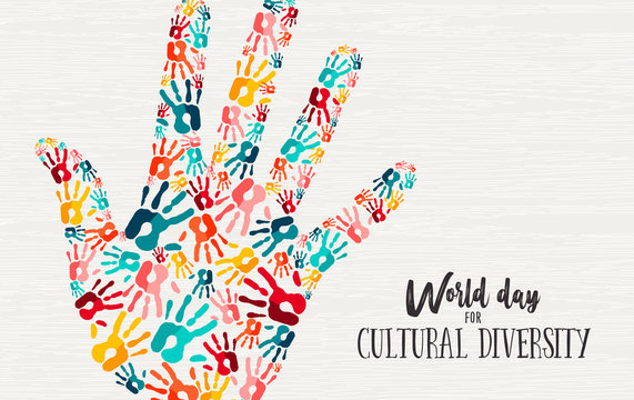 Cultural Diversity Day diverse hand concept card