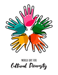 Wall Mural - Cultural Diversity Day poster of color human hands