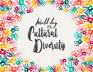 Wall Mural - Cultural Diversity Day diverse hand print card