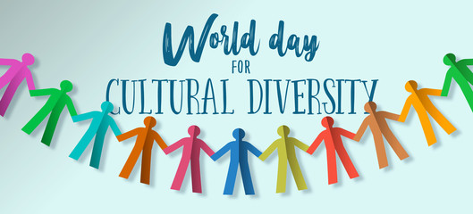 Wall Mural - Cultural Diversity Day banner of paper people team