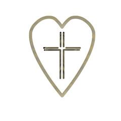 Christian cross icon in the heart inside. Black christian cross sign isolated on light background. Vector illustration.