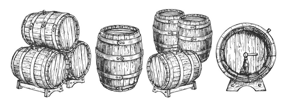 Wooden beer wine cask or barrels set