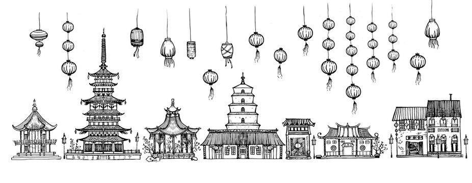 Traditional pagoda and lanterns set