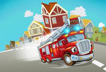 cartoon fire brigade driving through the city - illustration for children