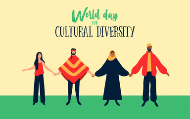 Wall Mural - Cultural Diversity illustration of diverse ethnic people