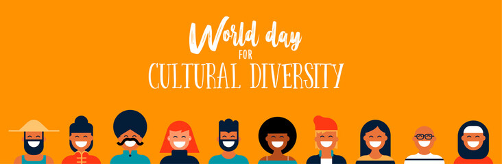 Wall Mural - Culture Diversity Day web banner of diverse people icons
