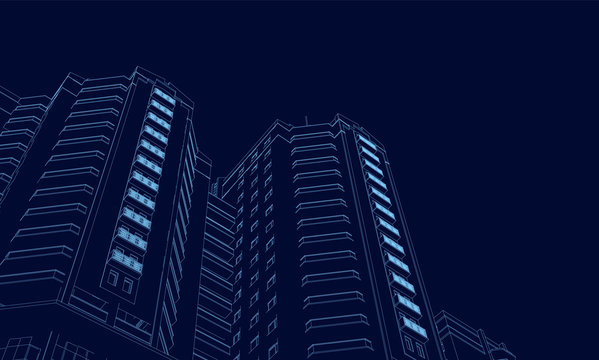 Wireframe of the building of the blue lines on a dark background. 3D. Polygonal building in perspective. Vector illustration